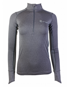 Women's Long Sleeve Half Zip Running Top - Grey Marl