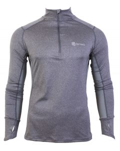 Men's Long Sleeve Half Zip Running Top - Grey Marl