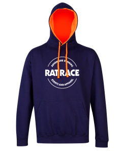 Rat Racer Hoodie - Navy/Electric Orange
